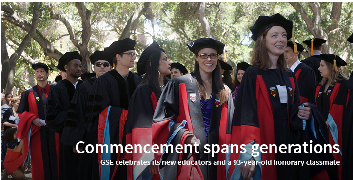 Commencement spans generations: GSE celebrates its new educators and a 93-year-old honorary classmate